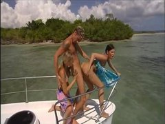 Boat trip leads to threesome on the beach