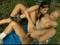 Their threesome in the grass has anal