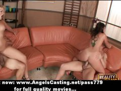 Young swingers having foursome with doggie style and chicks on top