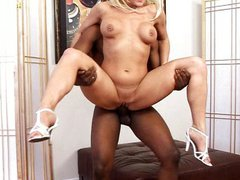 Interracial blond MILF creampie fun
