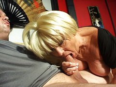 Horny blonde granny blowjob