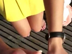 Big boobs Czech bombshell fucked on the rooftop with some spectators watching