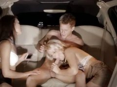Extreme group erotica in limo