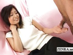 Bizarre Japanese CFNM with shy amateur