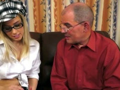 Horny grandpa seduces blonde cutie