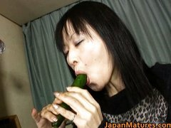 Japanese MILF enjoys masturbation