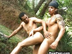 Gay Latino outdoor bareback fuck