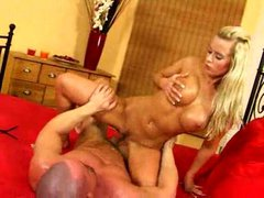 Oiled up blonde bimbo has anal sex