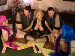 Two girls in stockings are fisted deep