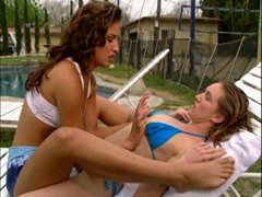 Girls have lesbian sex outdoors
