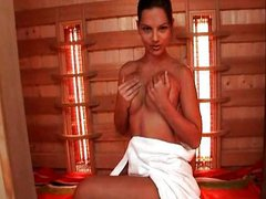 Eve Angel masturbating in sauna