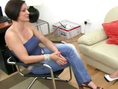 Brunette with big boobs on ottoman