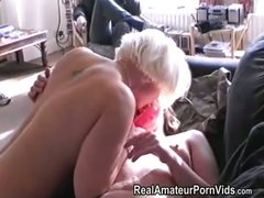 A nervous mature housewife has her first lesbian experience