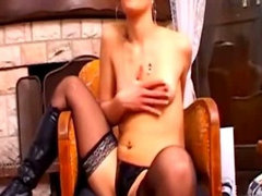 Sexy Babe in Stockings Stripping on Webcam
