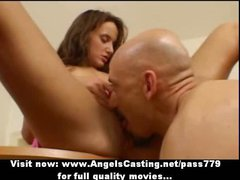 Lovely redhead does blowjob and has pussy licked and is fucked hard