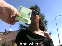 Tight bodied euro sweetie sucks and rides cock in public for cash