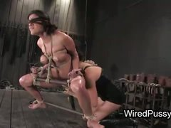 Tied up babe with spread legs pussy deep fisted and ass wired and hard whipped