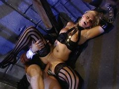 Blond witch nailed both holes in dungeon