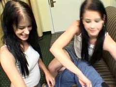 Tiny-titted sluts fuck a guy in hot ffm