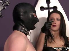 Domina teaches slave to obey