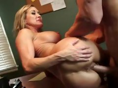 Busty blonde boss Brandi Love eats employee's cock and gets nailed