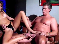 Sexy brunette secretary play hot foot fetish games with mature dude