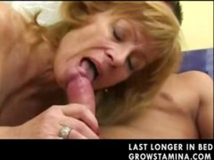 Mature with hairy pussy eats his cock and then gets drilled