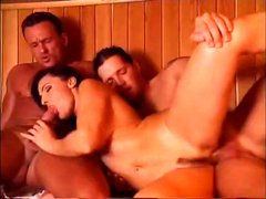 They meet in a sauna and brunette blows while getting banged and gets a DP