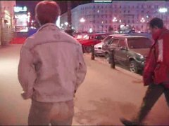 Hot enthusiastic russian redhead olga gets gangbanged by two guys