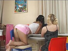 Blonde and Asian teen lesbians
