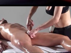 Dude gets an oiled up massage and she gives his cock some rubbing