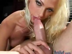 Busty blonde Nikki Hunter rides his hard cock and gets a mouthful