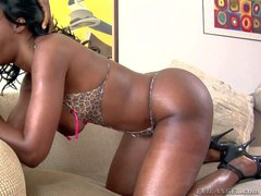 Curvy black woman Nyomi Banxxx in lingerie and shoes shows
