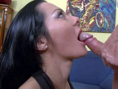 Raven haired Sandra Romain in sexy black stockings gets down