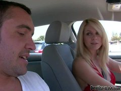Blonde Angela Attison is a pretty milf. Playful woman flashes