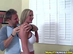 Golden haired milf enjoys in welcomes from her first neighbor