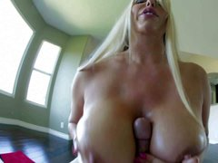 Heavy chested blonde honey Karen Fisher enjoys in revealing her