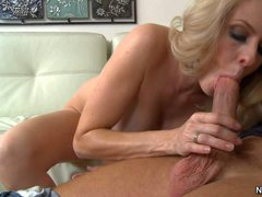 Blonde and hot milf Angela Attison gets her hands on