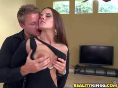Arousing milf brunette in her tight and sexy provocative dress