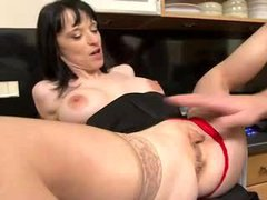 Housewife in stockings fucked in her kitchen