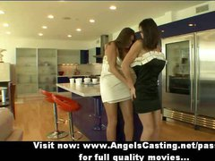 Superb stunning brunette lesbian babes talking and undressing