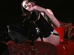 Hot brunette with stiff nipples gets ready for bondage scene