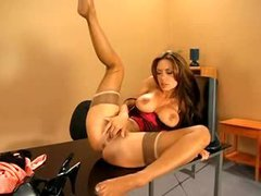 Pornstar nylons and lingerie tease in office