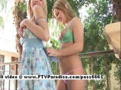 Kali and Melissa stunning amateur lesbian babes kissing