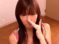 Japanese slut pissed on and sucking cock