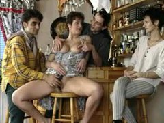 Mature in a dress banged in a bar