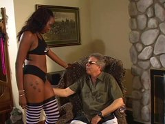 Black model dances for old guy and gets her pussy eaten