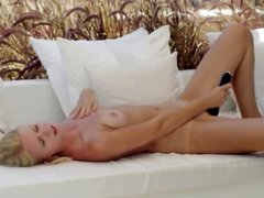 blond babe toying pussy in art movie