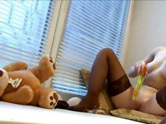 Ultra hot lingerie and huge toy