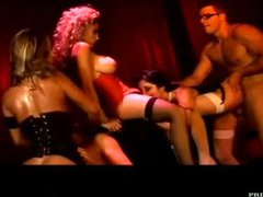 An orgy with sexy burlesque beauties